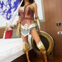 Cute ladyboy Mos crosses swords with a man after giving him a BJ in cosplay attire