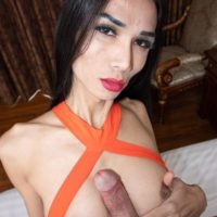 Dark haired ladyboy Bella tosses the salad while giving a man oral sex