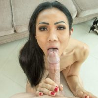 Hot Asian ladyboy Swan strips before a POV blowjob and bareback anal sex