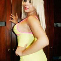 Hot blonde shemale Afrika Kampos works her big tits and juicy ass free of her dress