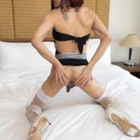 Ladyboy Sammy dildos her filthy asshole before sucking on a man's big dick