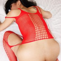 Ladyboy Swan eats ass while giving a big cock a blowjob POV style in red lingerie