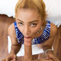 Redhead ladyboy Ning blows a man's cock prior to getting on top for POV anal sex