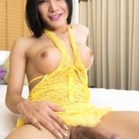Sexy Asian ladyboy Julie gets on top during bareback anal sex after giving a blowjob