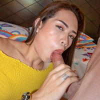 Slim ladyboy Lee dildo fucks her asshole after POV oral and anal sex with a man