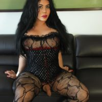 Dark haired shemale Sina Latina sets her hard cock free of crotchless bodystocking