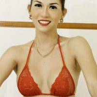 Beautiful Asian ladyboy Sapphire Young frees her big tits and dick from a red bikini