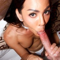 Sexy Asian ladyboy Lanta sucks on the ball sac while giving a blowjob in white lingerie
