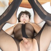 Beautiful Asian ladyboy Dream dildos her asshole in a crotchless bodystocking