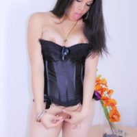Solo ladyboy Vivian Black flaunts her big booty in a corset while jerking her shecock