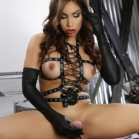 Beautiful shemale Angeles Cid tugs on her big dick wearing fetish attire and boots