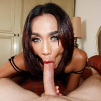 Ladyboy Game sports red lips while licking ass and blowing a long cock POV style