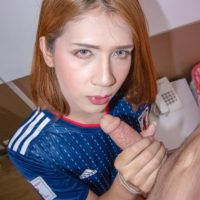 Redhead ladyboy Bipor toys her asshole after bareback anal sex in POV mode