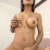 Busty Asian ladyboy Maria sucks on a large cock before a bareback anal fuck proceeds