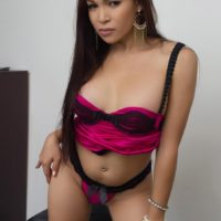 Sexy Asian ladyboy Vitress Tamayo looses her firm boobs from lingerie in solo action