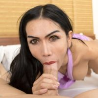 Dark haired ladyboy Bella toys her asshole before a POV blowjob and anal with a man