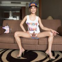 Ladyboy Benty toys her asshole with a glass butt plug before licking a cock POV style