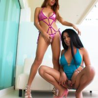 Leggy shemale Tania Quintilla and her trans girlfriend play with cocks in sexy lingerie