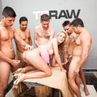 Blonde Latina tranny Barbara Perez does a gangbang with a bunch of guys
