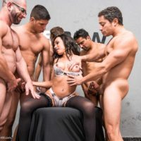 Brunette tranny Sheila Wandergirlt gets gangbanged by a bunch of men in stockings