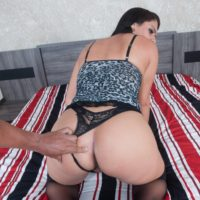 Latina shemale Aline Tavares gets on top a man during POV sex in OTK nylons