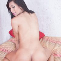 Latina shemale Nicole Lallissa displays her bubble butt while riding a cock POV style