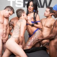 Latina tranny Thais Tavares gets gangbanged by white and black men in black socks