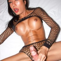Beautiful ladyboy Mos sports a creampie after a blowjob and bareback anal sex