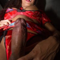 Hot brunette ladyboy Mos sucks and tugs on a man's cock before tossing the salad