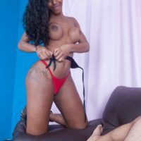 Latina shemale Viviane Silva sports long hair during oral and anal sex with a man