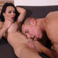 Dark haired transsexual Bianka Nascimento and her boyfriend suck each others cocks
