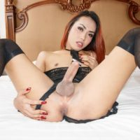 Redhead Asian ladyboy Many crosses swords before licking a man's ass and sucking cock