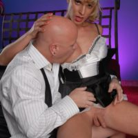 Tall trans maid Angelina Torres gets on top a businessman's cock after making his bed