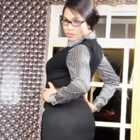 Alluring ladyboy Vitress Tamayo uncovers her g-string outfitted butt in secretary duds