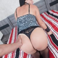 Latina T-girl Aline Tavares gets on top a dude during POV sex in OTK hosiery