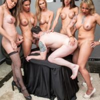 Transsexual women gangbang a man over a table during bareback action