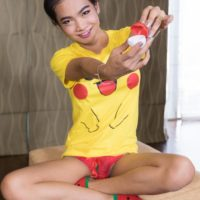 Uber-cute Asian trans-girl Yoyo taking selfie while receiving a no condom arse banging in a hat