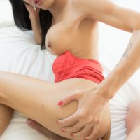 Pretty dark haired ladyboy Om wanks her large sausage while taking a no condom bunghole banging
