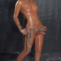 Spindly solo trans-girl Blondie Johnson loosing enormous mamas & her monstrous rod in barefeet