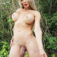 Nude tranny Nelly Ochoa demonstrates her massive rack & penis in a forest