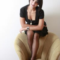 Teener ladyboy Bam peels off her black sundress and switches into tempting crimson lingerie