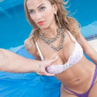 Latina Tgirl Nicole Nogueira gets backside boned while on a poolside lounge chair